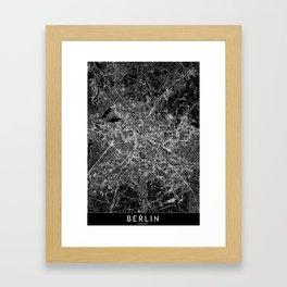 Berlin Black Map Framed Art Print