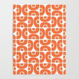 Groovy Mid Century Modern Pattern Orange Poster