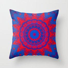 Vibrant Blue Red Mandala Throw Pillow