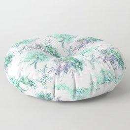 Succulents Mint Green Lavender Lilac Violet Pattern Floor Pillow