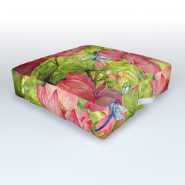Floral Lotus Flowers Pattern with Dragonfly Outdoor Floor Cushion