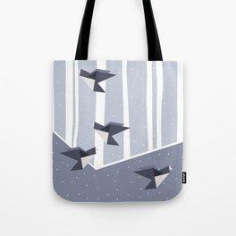 Elegant Origami Birds Abstract Winter Design Tote Bag