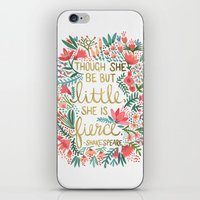 little iPhone & iPod Skins featuring Little & Fierce by Cat Coquillette