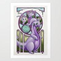 mucha Art Prints featuring Mucha Goodra by daftmue