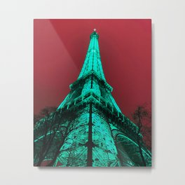 Aqua Eiffel Tower Metal Print