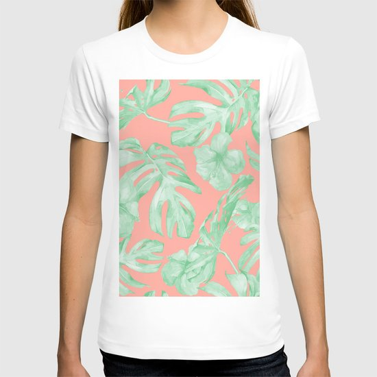 Tropical Palm Leaves Hibiscus Flowers Coral Green by followmeinstead