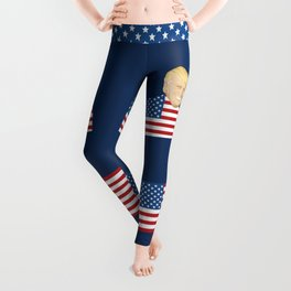Portrait of  Donald Trump with US flag Leggings