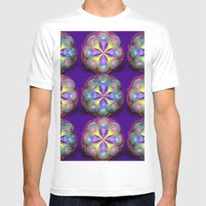 Fractal Buttons White MEDIUM Mens Fitted Tee