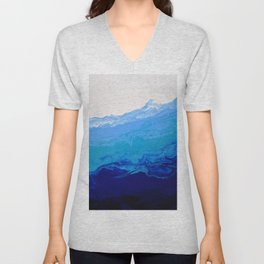 High Tide Blue Turquoise Water Fluid Abstract Unisex V-Neck