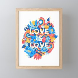 Love Wins Flower Typography Framed Mini Art Print