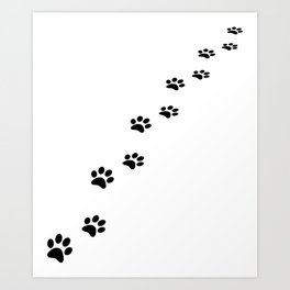Black cat paw prints on white Art Print