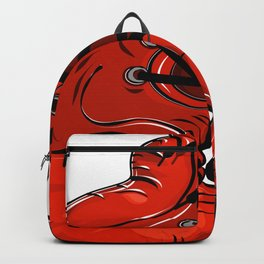 Red boxing gloves hanging on a nail Backpack