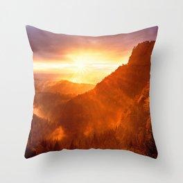Epic Autumn Sunset Mountain Throw Pillow