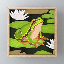 Lilypads Bullfrog Framed Mini Art Print