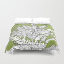 Banana Leaves Illustration - Green Duvet Cover