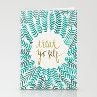 treat yo self Stationery Cards featuring Treat Yo Self – Gold & Turquoise by Cat Coquillette