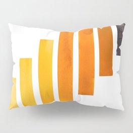 Orange Yellow Ocre Midcentury Modern Minimalist Staggered Stripes Rectangle Geometric Pattern Waterc Pillow Sham