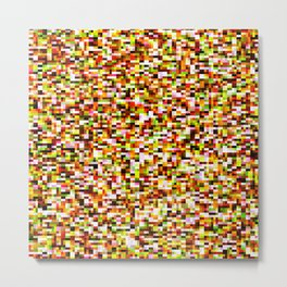 Red yellow pixel noise static pattern Metal Print