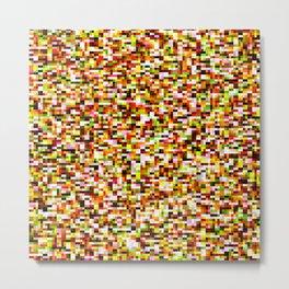 Red yellow pixel noise static pattern Metal Print