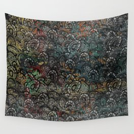 Burned Color  Paisley Pattern on  Wood Wall Tapestry