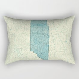 Tennessee State Map Blue Vintage Rectangular Pillow