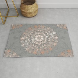 Rose Gold Gray Floral Mandala Rug