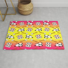 Cute funny Kawaii chibi little playful baby panda bears, happy cheerful sushi with shrimp on top, rice balls and chopsticks bright yellow and pink pattern design. Nursery decor. Rug