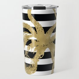 Gold Octopus on Black & White Stripes Travel Mug