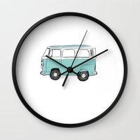 vw bus Wall Clocks featuring VW Bus by emmabjoerklund