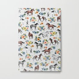 Horses and Flowers Pattern, Floral Horses, Hand-Painted, Horse Love, Watercolor, For Girls Metal Print
