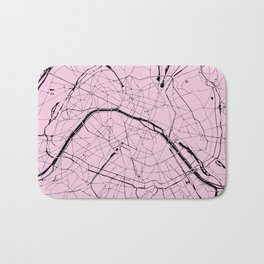 Paris France Minimal Street Map - Pretty Pink on Black Bath Mat