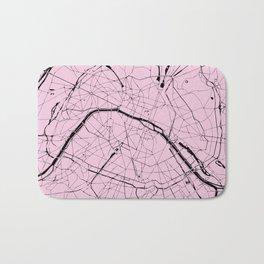 Paris France Minimal Street Map - Pretty Pink on Black Bath Mat