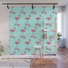 Skating Flamingo Wall Mural