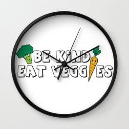Be Kind Eat Veggies Wall Clock
