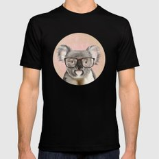 Funny koala with glasses Mens Fitted Tee MEDIUM Black