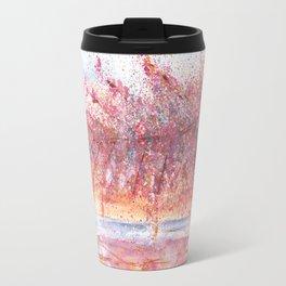 Pink Abstract Landscape Illustration Travel Mug