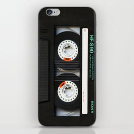 Retro classic vintage Black cassette tape iPhone Skin