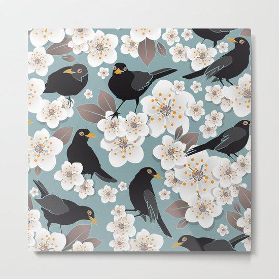 Waiting for the cherries I // Blackbirds blue background Metal Print