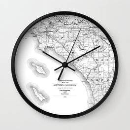 Los Angeles & San Diego Map Wall Clock