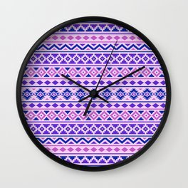 Aztec Essence Pattern II Pinks Blue Purple Wall Clock