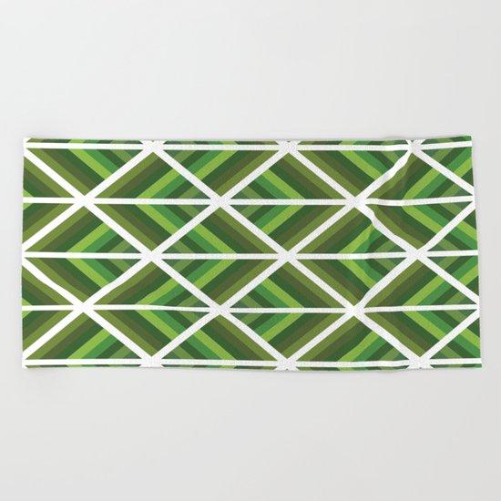 Green Stripe Triangles Beach Towel