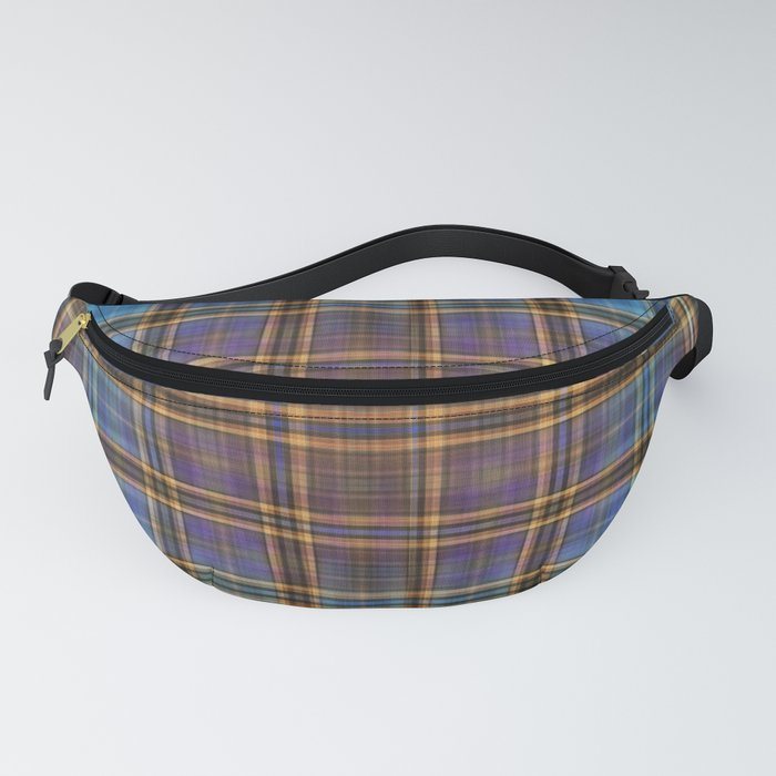 Blue and Gold Tartan Pattern Fanny Pack
