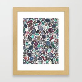 MIXED GEMSTONES ON WHITE Framed Art Print