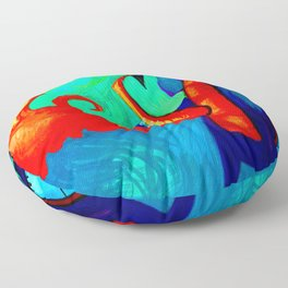 Blue Dragon Plays the Saxophone and Blows Fire with piano keys Floor Pillow