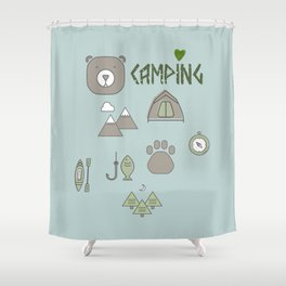 Camping Collage with Bear Tent Mountains and More Shower Curtain