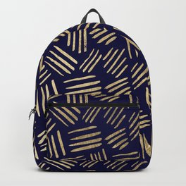 Chic navy blue faux gold abstract brushstrokes Backpack