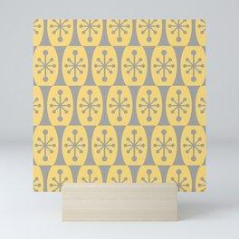 Mid Century Modern Atomic Fusion Pattern 332 Yellow and Gray Mini Art Print