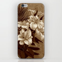White Lilies and Palm Leaf in brownscale iPhone Skin