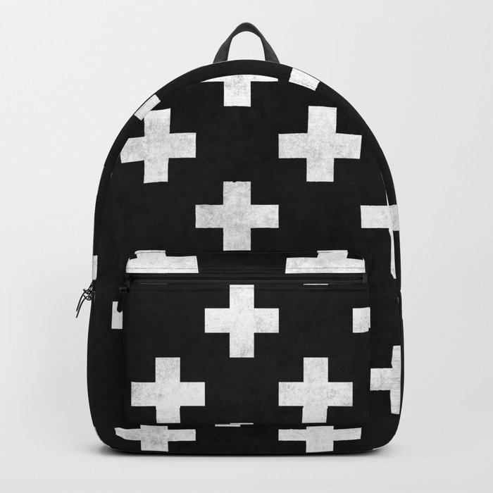 Black and white swiss cross pattern Backpack