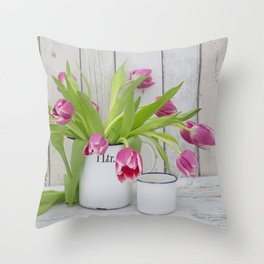 pink spring tulip still life country style Throw Pillow